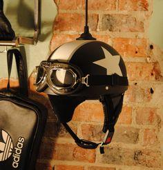 Retro inspired motorcycle helmet lamp. Handmade in Sweden. Dusty black. on Etsy, 900:00kr