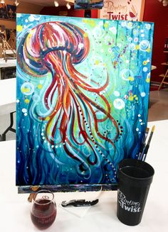 10 Mind Numbing Facts About Under The Sea Painting Ideas - Painting Inspiration, Art Inspo, Seahorse Painting, Watercolor Jellyfish, Sea Life Art, Underwater Painting, Fish Art, Paint Party, Art Plastique