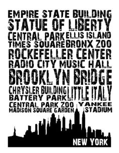New York City Landmarks Typografie Kunstdruck von SportsPrintables