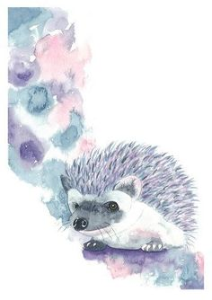 The print is an abstract representation of a watercolor hedgehog For sale on Etsy $10.