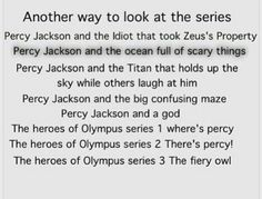 Percy Jackson and the time they sailed around a lot Percy Jackson and Zeus's trust issues  There's books four and fivw