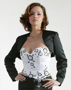 Embroidered Lace Black Long Sleeve Bolero Jacket Wedding Shrug