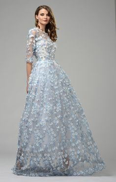 "Haute Couture Dress ""Noemi"" blue - Matsouri Haute Couture Dresses, Blue Gown, Ethical Fashion, Beautiful Dresses, Lace Wedding, Ball Gowns, Fashion Dresses, Prom, Formal Dresses"