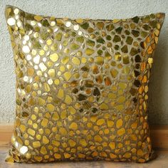 Decorative Throw Pillow Covers 16x16 Inches Silk Pillow Cover Gold Accent Pillow Gold Mosaic Home Living Decor Housewares Couch Pillow