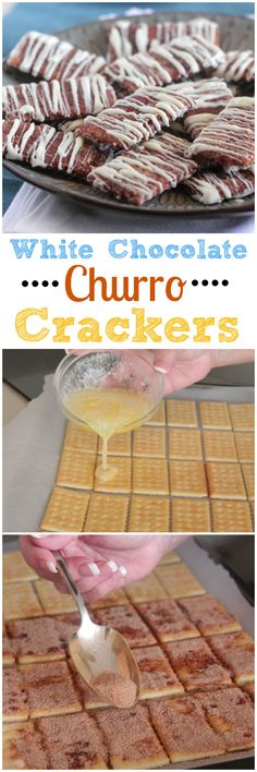 White Chocolate Churro Crackers! Fun and simple sweet snack for the whole family. #snack #recipe #kidfriendly