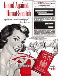 Pall Mall cigarette ad, Saturday Evening Post, July 1952
