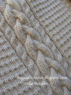 Magia do Crochet: Camisola em tricot com cordas para homem (com esquema das cordas)