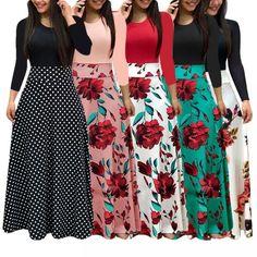 Wholecloset New Women Plus Size Bohemian Long Sleeve Maxi Dress Color Block Polka Dot Floral Patchwork Bodycon Empire Waist Vintage - Long Sleeve Maxi, Maxi Dress With Sleeves, Short Sleeve Dresses, Draped Dress, Short Sleeves, Dresses Elegant, Cheap Dresses, Sexy Dresses, Formal Dresses