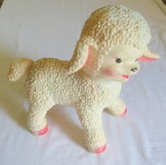 "Vintage 1961 Sun Rubber Co Lamb Baby Toy w/Roller Ball Feet Pink 11"" -Squeek"