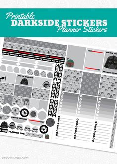 Free Planner Stickers - Pick your side! Dark side or light side! Check out these fun Star Wars themed planner stickers to help you make your planner a little nerdier. Print this PDF on your favorite labels.
