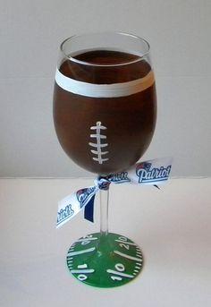 Football Wine Glass Football Theme Gift Wine by EmbellishCraft