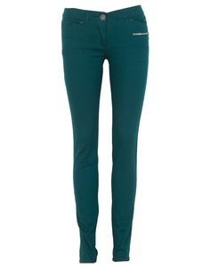 Teal Green Zip Detail Super Skinny Denim Trousers