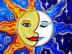 day and night painting Star Illustration, Art Illustrations, Funky Art, Day For Night, Stars And Moon, Sun Moon, Art Activities, Winter Activities, Art Journal Inspiration