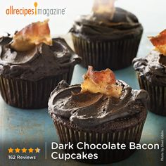 """Dark Chocolate Bacon Cupcakes   """"I took the advice of previous reviewers and brewed my coffee very, very strong and made sure the bacon was really crispy."""""""