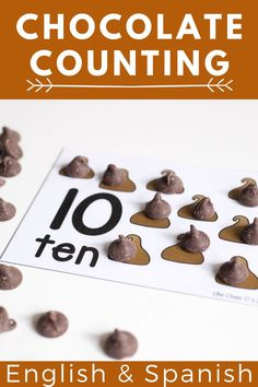 Kids will love counting to 10 when it comes to doing it with chocolate chips! These FREE printable count to 10 mats use chocolate chips and are great to use in your preschool and kindergarten math centers. You can get these counting mats in both Spanish and English! #kindergarten #math #preschool #countingcards #countto10 #freeprintable Kindergarten Math Activities, Educational Activities For Kids, Preschool Math, English Kindergarten, Fun Learning, Learning Activities, Early Learning, Preschool Activities, Make Chocolate Chip Cookies