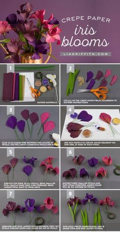 paper flower wall decor, photo collage of step by step diy tutorial, how to make iris blooms out of crepe paper # crepe paper flowers diy tutorials ▷ ideas for DIY paper flowers to decorate with Tissue Paper Flowers, Paper Flower Wall, Paper Roses, Felt Flowers, Diy Flowers, Fabric Flowers, Paper Peonies, Flower Diy, Diy Y Manualidades