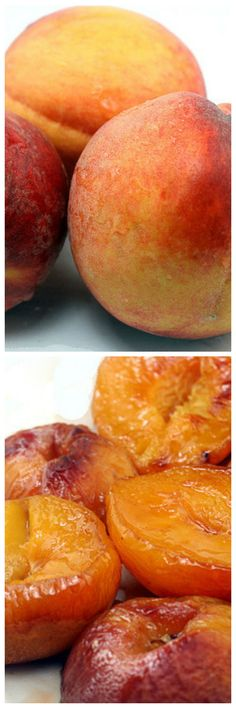 Roasted Peaches by parsleysagesweet: Buttery Brown Sugar Roasted Peaches - less than 100 calories for a dessert that tastes like soft candy. Also buried in post is recipe for brown butter pound cake.