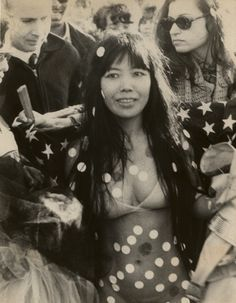 "By the mid-1960s Kusama had become a tabloid fixture, known for ""happenings"" - gatherings where she painted polka dots on everything, and everyone!    left: Kusama, at the ""Bust Out Happening at Sheep Meadow in Central Park"" (1969)."
