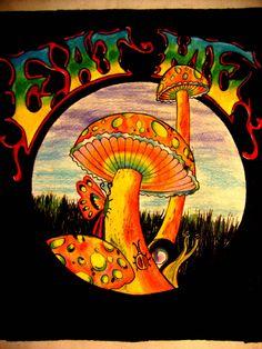 Eat Me Mushrooms by DeannaDropDead on deviantART Trippy Drawings, Psychedelic Drawings, Art Drawings, Hippie Painting, Trippy Painting, Mushroom Drawing, Mushroom Art, Hippie Vintage, Trippy Mushrooms
