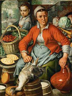 """Marktweib  von Joachim Beuckelaer  Beuckelaer, Joachim um 1530-1573. """"Marktweib"""", 1561. Öl auf Eichenholz, 125 x 94 cm. Inv. 3559  http://www.kunst-fuer-alle.de/deutsch/kunst/kuenstler/kunstdruck/joachim-beuckelaer/7391/1/117454/marktweib/index.htm#"""