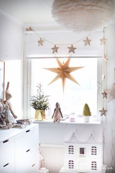 Numero74 Iridescent pink mini star garland