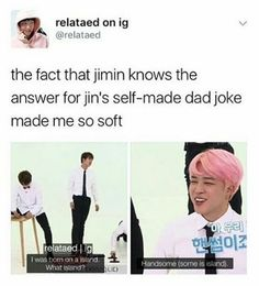 I love how Jimin always react to Jin's jokes no matter how bad they are. I love how Jimin always react to Jin's jokes no matter how bad they are.,BTS I love. Jimin, Kookie Bts, Bts Jin, Bts Bangtan Boy, Mochi, K Pop, Jin Dad Jokes, Dad Puns, Fith Harmony