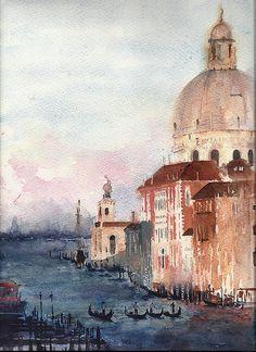 Original painting watercolor Venice 9x12 gondolas by YuliaShe, $87.00