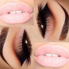 Bombshel make up pink nude lips smoked eyes sexy look-