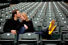 cute engagement shot --like the repetition of the chairs