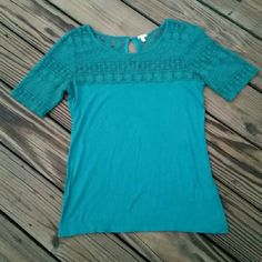 J. Crew Blouse Teal green, elbow length top with a lace upper half. 55% cotton & 45% modal. J. Crew Tops