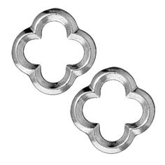 RHODIUM PLATED LEAD FREE PEWTER MED QUATREFOIL CONNECTOR LINK 16MM 2 from beadaholique.com
