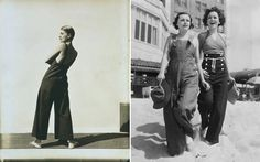 (L) Lee Miller Wearing Yraide Sailcloth Overalls, Photo by George Hoyningen Huene, 1930s. (R) 1930s. | Overalls | shrimptoncouture.com