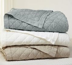 Diamond Linen Quilt  Shams #potterybarn  Love the throw at the end of the bed