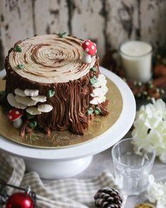 Pretty Cakes, Cute Cakes, Beautiful Cakes, Amazing Cakes, Just Desserts, Dessert Recipes, Mushroom Cake, Yule Log Cake, Cake Decorating Techniques