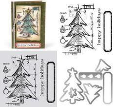 Holiday Stamps || *Tim Holtz Sizzix Framelits TREE BLUEPRINT Wafer Thin Die & Stamp Set 659379 $24.99