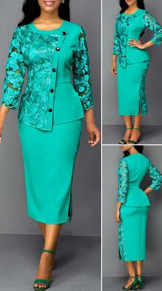 Lace Panel Zipper Back Button Front Sheath Dress – Christmas Fashion Trends Latest African Fashion Dresses, African Dresses For Women, Women's Fashion Dresses, Outfits Dress, Work Dresses For Women, Trendy Clothes For Women, Classy Dress, Classy Outfits, Christmas Fashion
