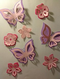 Items similar to paper double butterfly and flowers sticker room decoration, nursery room, photo prop, in 3 colors on Etsy 3d Paper, Paper Quilling, Paper Crafts, Butterfly Baby, Butterfly Crafts, Beaded Ornaments, Handmade Ornaments, Burlap Flowers, Paper Flowers