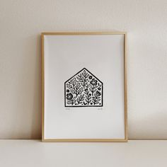 Home is Where My Plants Are - Linocut Art Print - Original Hand Carved Block Print - Garden Illustration Wall Art Linocut Prints, Art Prints, Block Prints, Garden Illustration, Linoprint, Mandala Coloring Pages, Silk Painting, Encaustic Painting, Funny Art