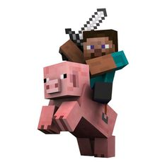 Minecraft Steve riding a Pig Vinyl Wall Decal by WilsonGraphics, $4.50