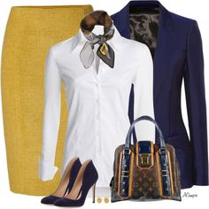 """""""Mustard Skirt"""" by anna-campos on Polyvore  yellow mustard skirt white blouse top blue blazer shoes heels"""