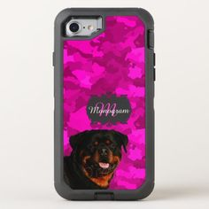 Rottweiler on Pink OtterBox Defender iPhone SE/8/7 Case rottweiler training, rottweiler with tail, rottweiler names #rottweiler #rottweilercorner #rottweilermom, dried orange slices, yule decorations, scandinavian christmas Rottweiler Names, Rottweiler Funny, Rottweiler Training, Iphone Se, Apple Iphone, Apple Logo, Pink Camo, Pink Gifts, Scandinavian Christmas