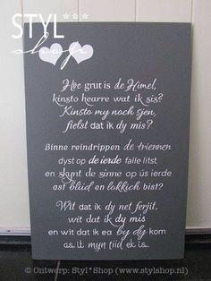 Ofskiedsgedichtsje yn it Frysk Grief, Quotations, Texts, Language, Jokes, Ideas, Afrikaans, Memories, Memoirs