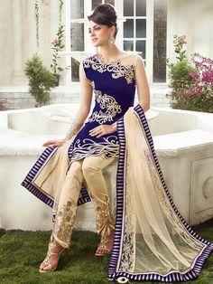 Royal Blue with Beige color heavy embroidery Anarkali Salwar Kameez