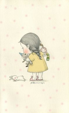 소녀에게(To my little girl) by 꼬닐리오 on Grafolio Artists For Kids, Bunny Art, Found Art, Creation Couture, Cute Little Girls, Cute Illustration, Cute Drawings, Cute Cartoon, Cute Art