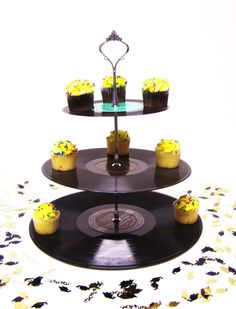 Retro Record Dessert 3 Tier Pedestal Cake Cupcake Stand.....got to make this!
