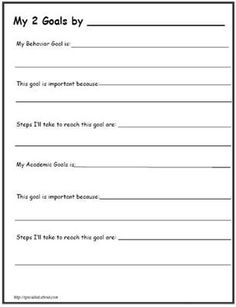 Printable Worksheets for Back to School Goal Setting | Goal charts ...