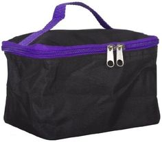 awesome World Traveler Purple Black Cosmetic Make-Up Case Bag - For Sale