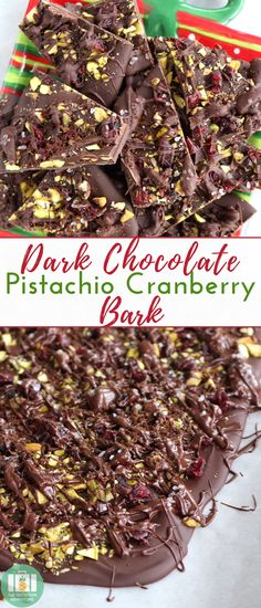This Dark Chocolate Pistachio Cranberry Bark is an easy #holiday recipe made with just 5 ingredients! #seasalt #coffee #dessert