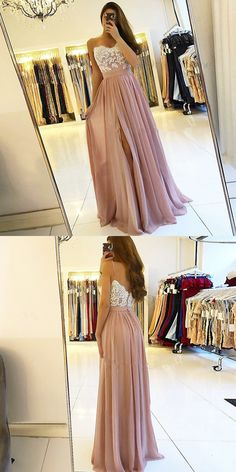 A-Line Spaghetti Straps Backless Pink Prom Dress with Appliques