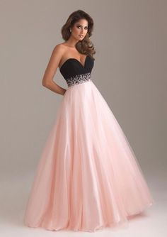 Beautiful pink with black Prom Dress